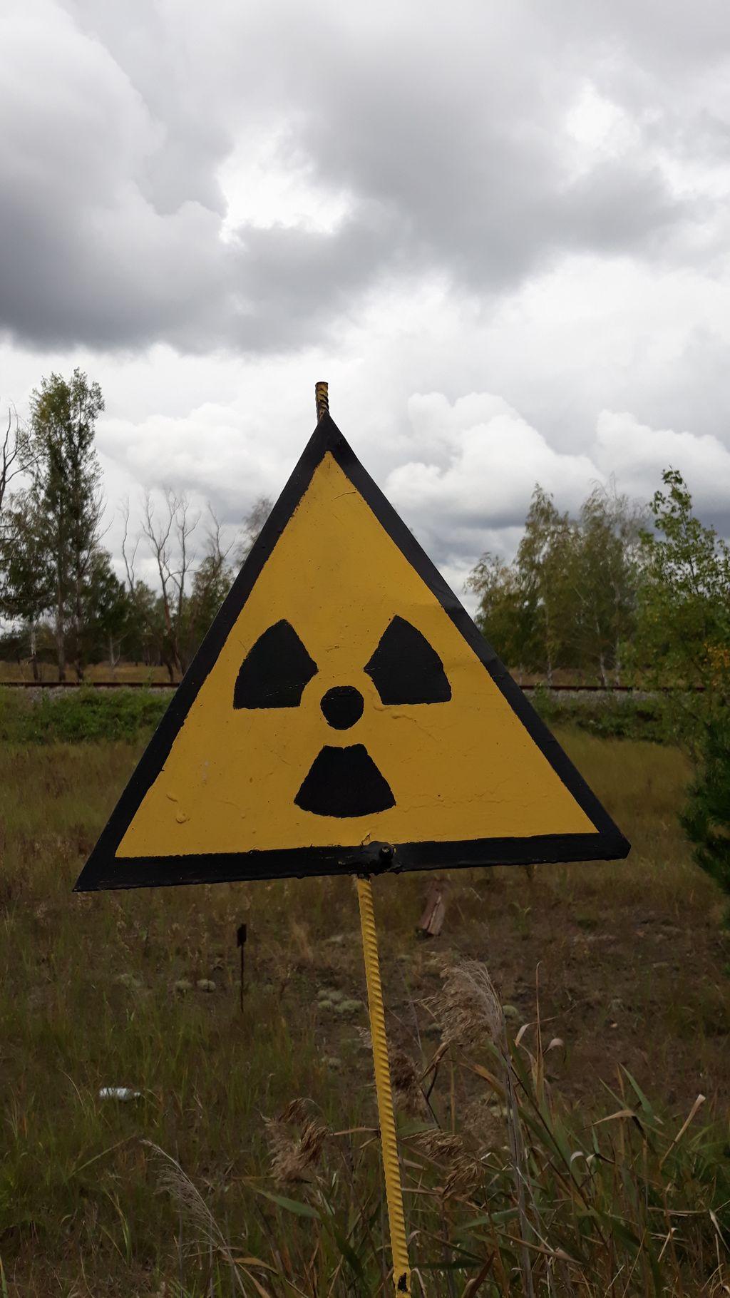 Značka radiace - v pozadí červený les