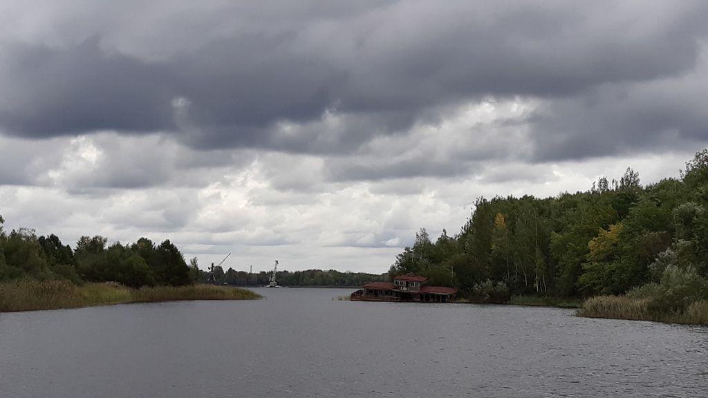 Pohled od města Prepjať k elektrárně