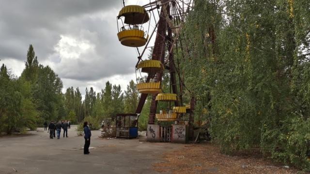 Slavné ruské kolo v Pripjať. V některých částech kola je stále zvýšená radiace, tzv. hotspots